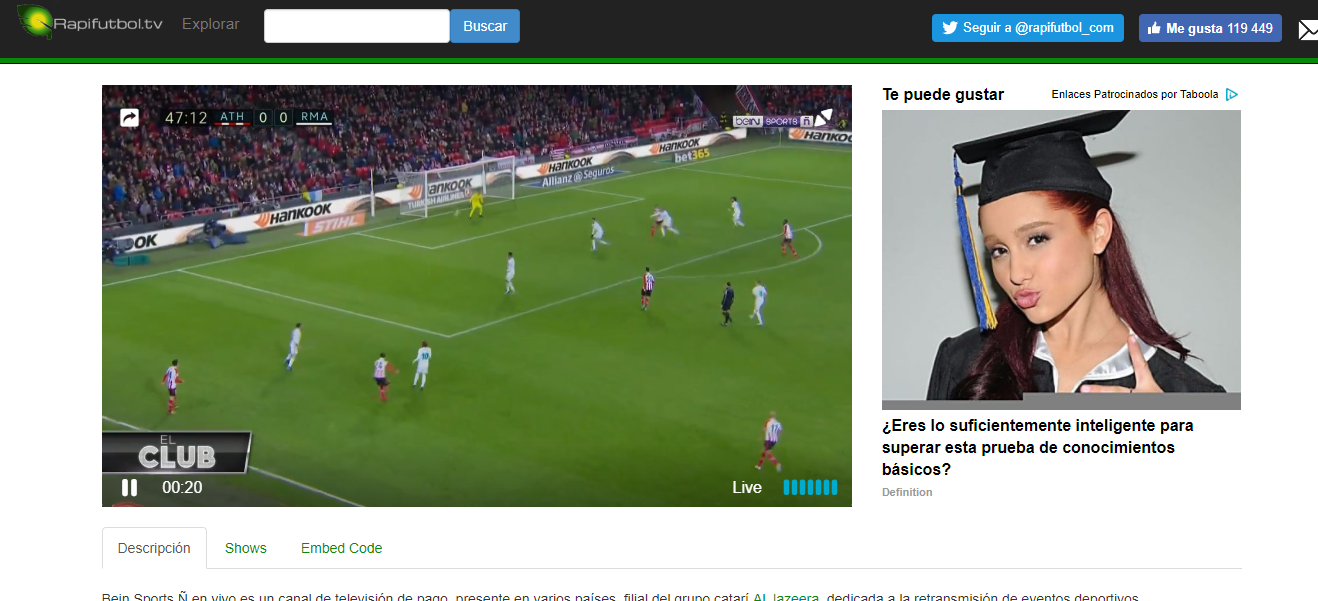 Ver fútbol en vivo online usando rapifutbol.tv