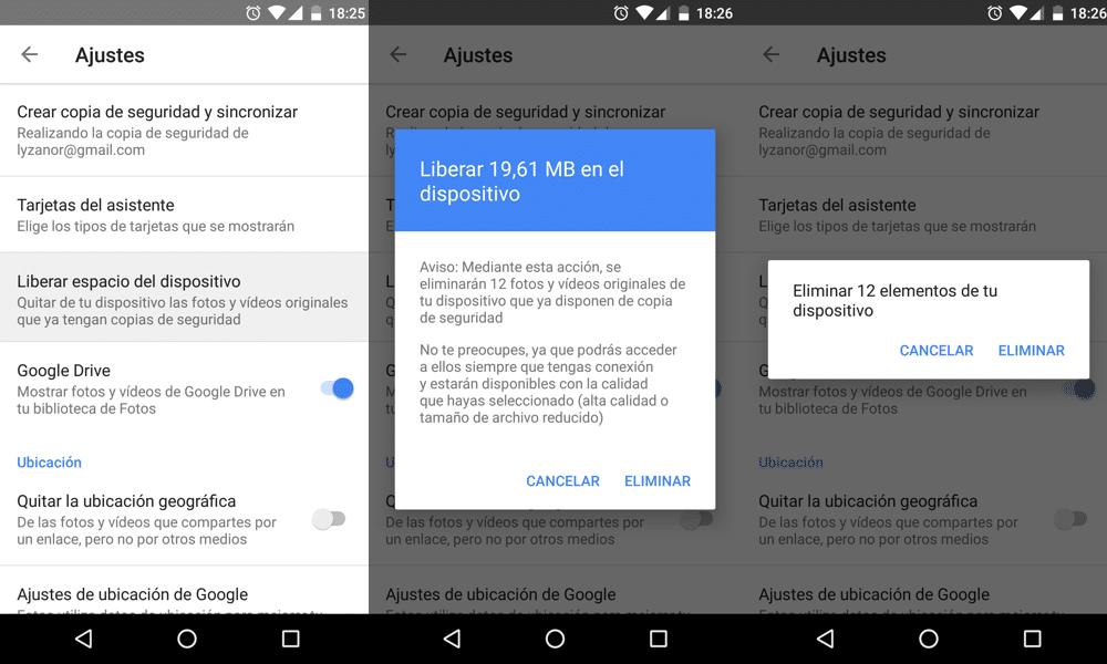 Liberar espacio del dispositivo Google Fotos